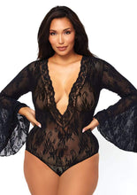 Load image into Gallery viewer, Stretch lace deep-V bell sleeve teddy - Queen