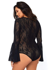 Stretch lace deep-V bell sleeve teddy - Queen
