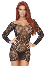 Load image into Gallery viewer, Leg Avenue Crochet lace long sleeved mini dress.