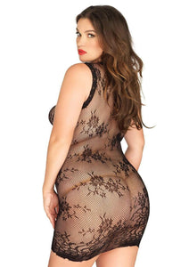 Floral Stretch Lace Mini Dress - Queen Size