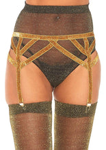 Load image into Gallery viewer, Leg Avenue Lurex Garter Belt - Gold or Silver