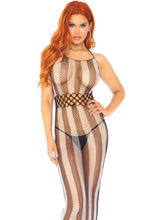 Load image into Gallery viewer, Leg Avenue Striped fishnet long halter dress with cut out detail.