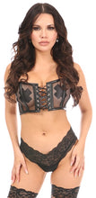 Load image into Gallery viewer, Daisy Lavish Black Fishnet & Faux Leather Lace-Up Short Bustier Top