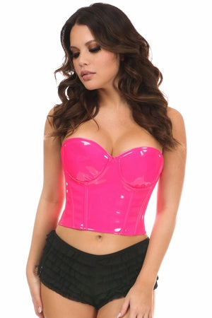 Daisy Lavish Pink Patent PVC Underwire Bustier