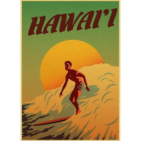affiche surf hawaii
