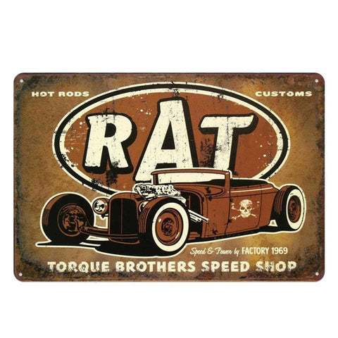 plaque hot rod métal