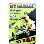 plaque metal pin up garage