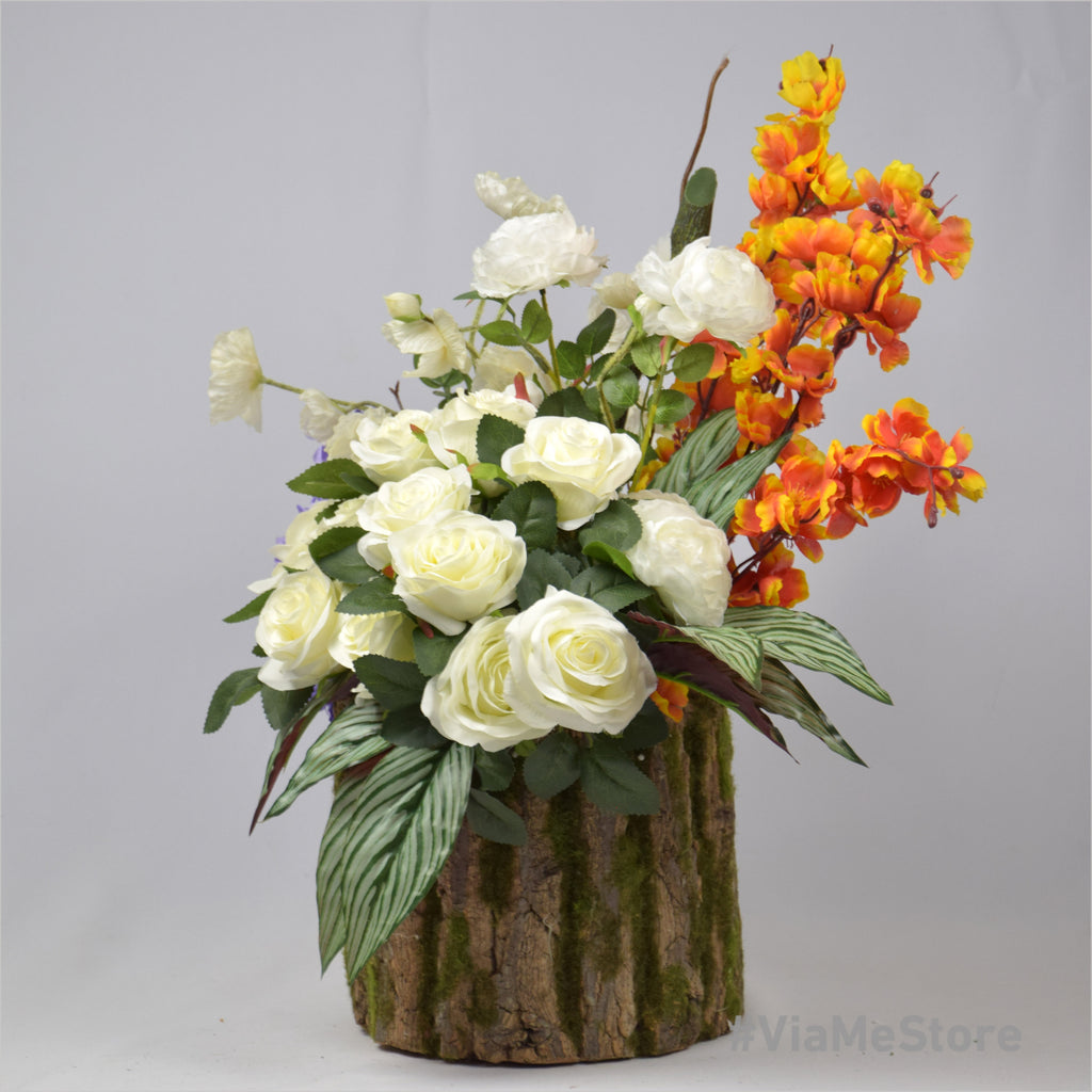 Pleasant Anastasia Roses with Artificial Wood Stand