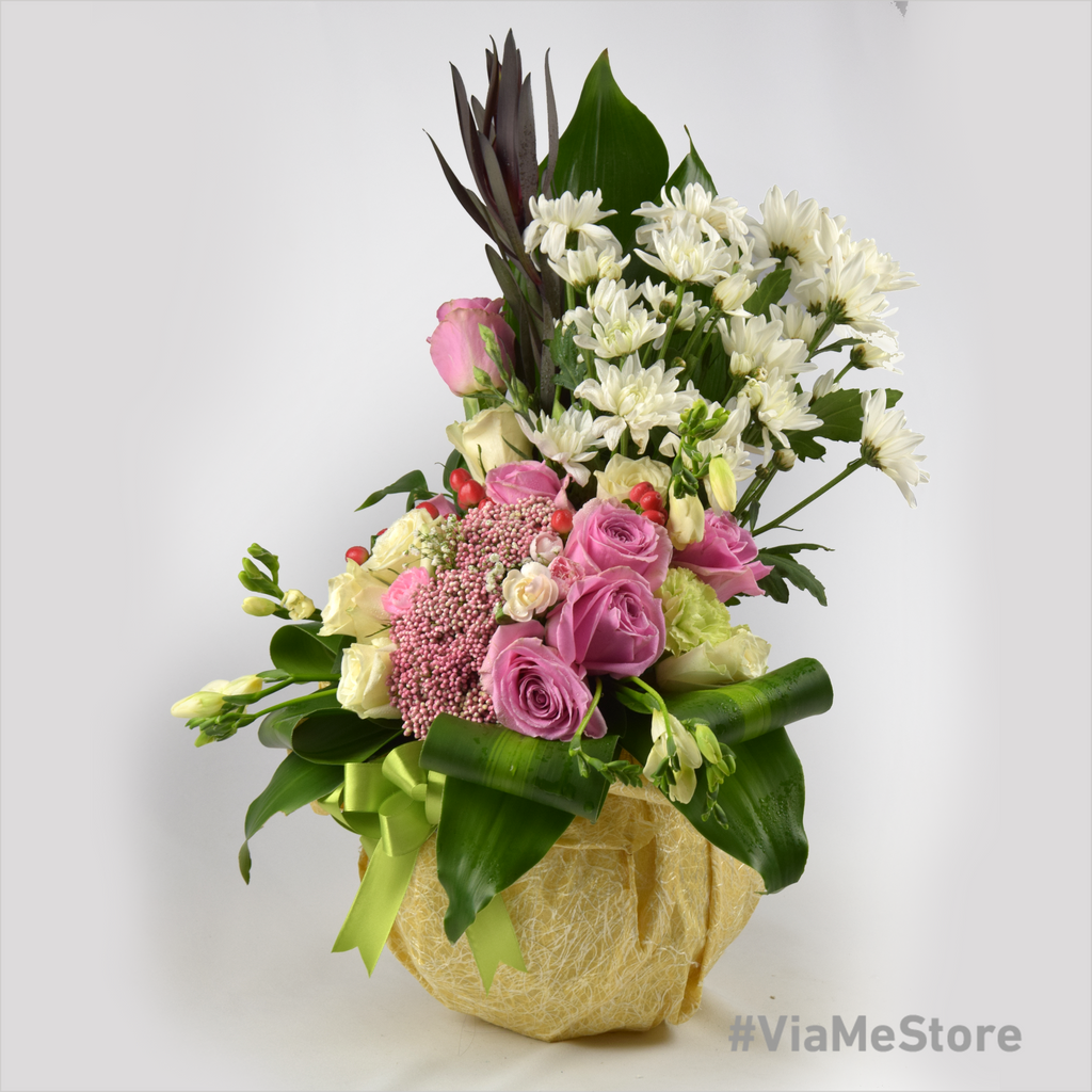 Sweet Mixed Flowers with Decorated Glass Stand 1