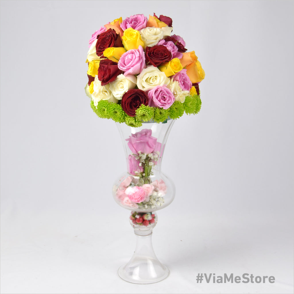 Big Dome Assorted Flowers in Glass Vase