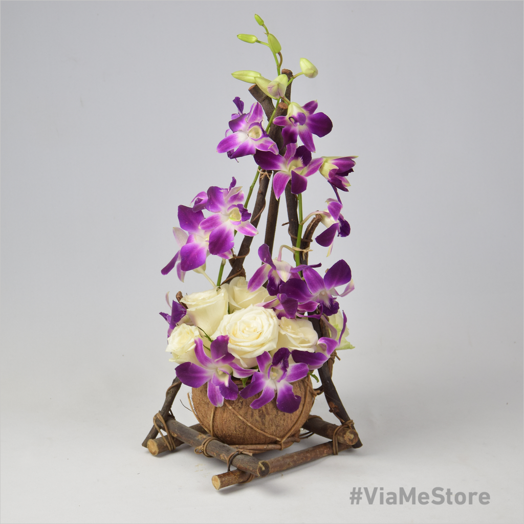 Dazzling Flowers with Small Wooden Stand