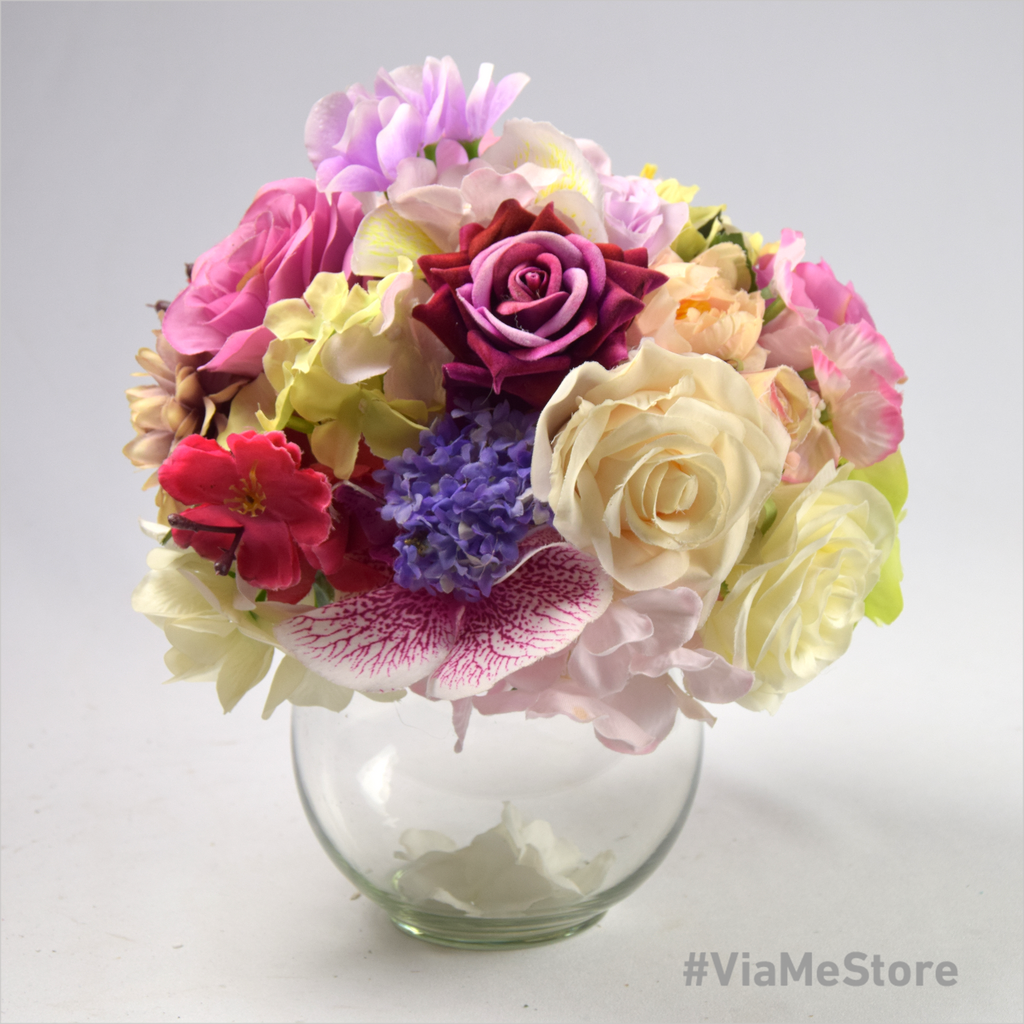 Artificial Blooming Flowers with Glass Bowl