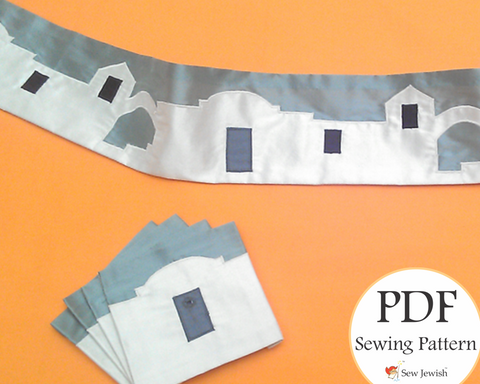 King David's Jerusalem Atarah and Corner Pieces for Tallit - PDF Pattern