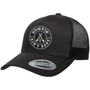 Hemp Ain't Easy Yupoong - Classics™ Five-Panel Retro Trucker Cap (Black)