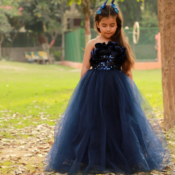 Midnight Shimmer Ruffled Ball Gown
