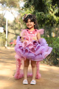 Dusty Flower Girl Dress with Tail