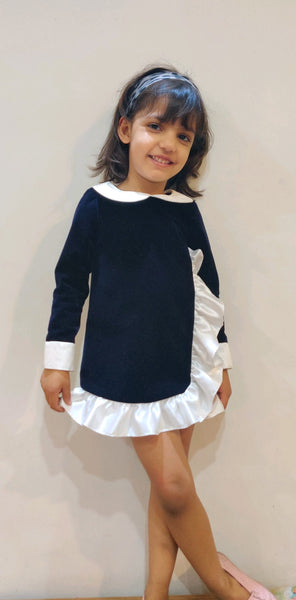 Navy Frilled Velvet Minni Dress