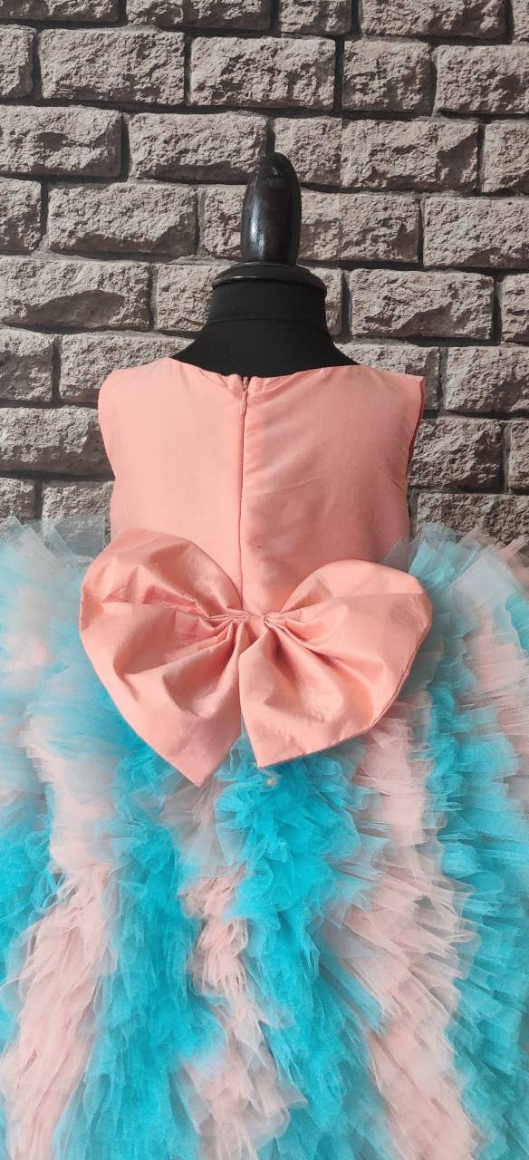 Peach and Mint Rosette Dress