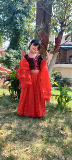 Load image into Gallery viewer, Scarlet Sparkle Lehenga Set