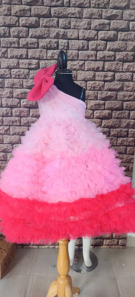 Shades of Pink Ruffled Dress