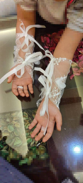 Lace Tie Up Fashion Gloves