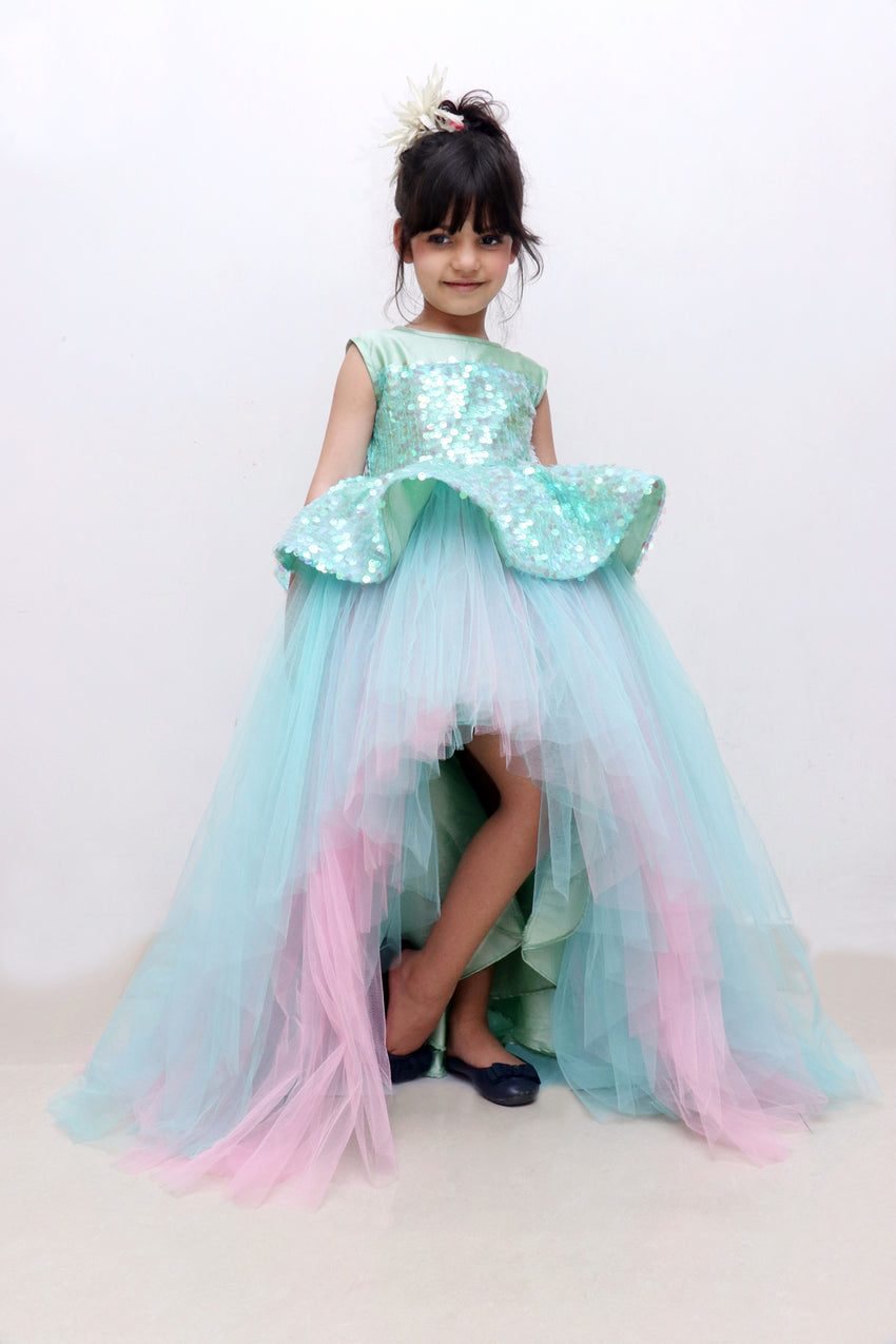 seagreen hilow party gown