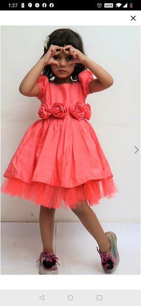 Peach Rose Party Dress