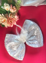 Load image into Gallery viewer, Silver Sparkle Head Bow