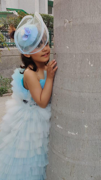 Blue Fancy Cap Fascinator