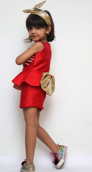 Ruby Red Peplum Dress