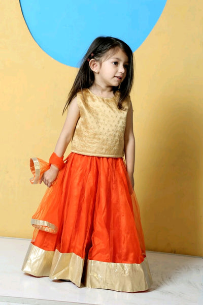 Orange Dazzle Fusion Lehenga