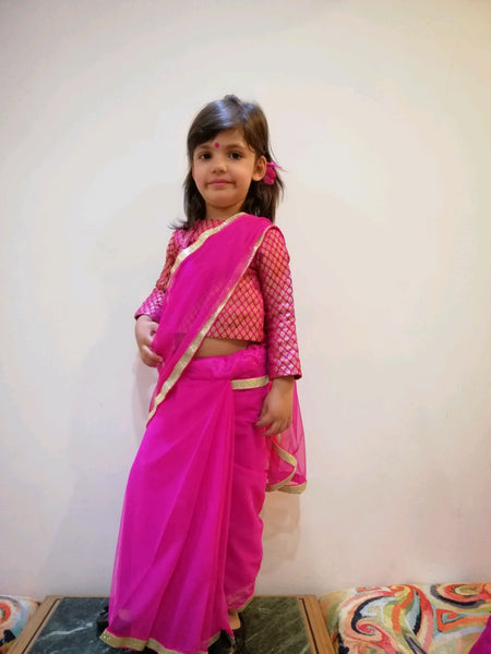 Blingy Pink Ready Saree