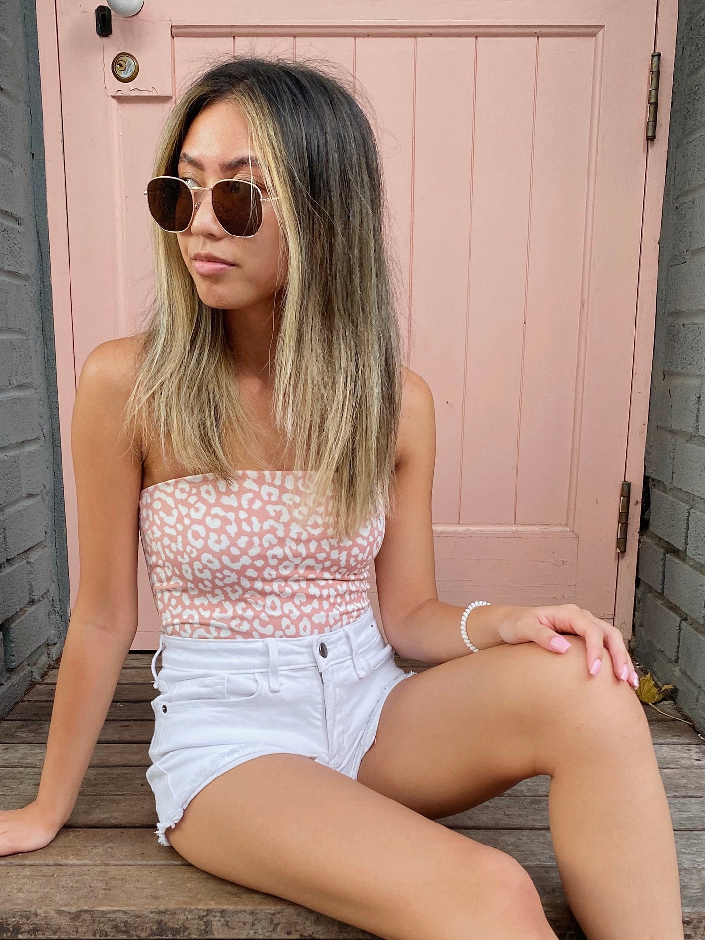 Lala Pink Leopard Tube Top