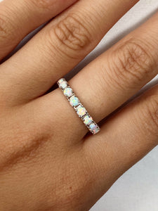 Opal Eternity Ring + Eyelash Ring