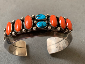Leroy Dayea Navajo Mediterranean Coral Turquoise Sterling Cuff