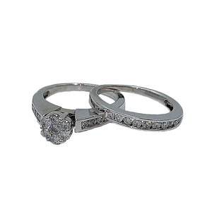 0.90 CTW 10KT white gold diamond bridal set with matching wedding band