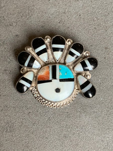 Vintage Sterling Zuni Sun Face Pin