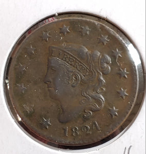1824 Large Cent AU, Original, Beautiful Coin!