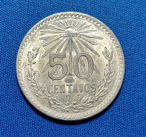 1945 Mexico Silver 50 Centavos Choice BU!!!