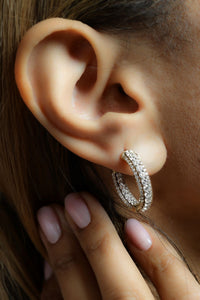3 1/2 ctw Diamond Hoop Earrings