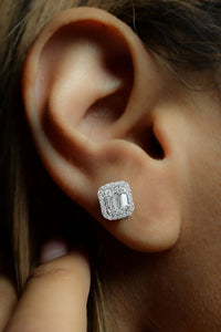 1 ctw Baguette and Halo Diamond Stud Earrings
