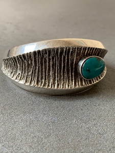 Philander Begay Navajo Tufa Casting Sterling Silver Turquoise Cuff