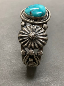 Hemerson Brown Navajo Sterling Silver Turquoise Cuff