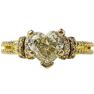 1.40 ctw yellow gold heart diamond engagement ring & matching band