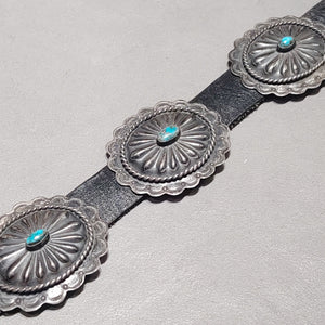 Concho Belt - Turquoise Sterling Oval