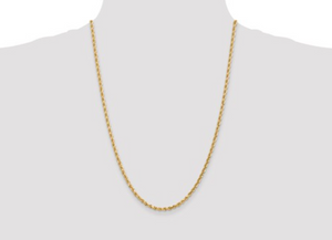 Solid Diamond Cut Rope Chain 10k 3mm 24""