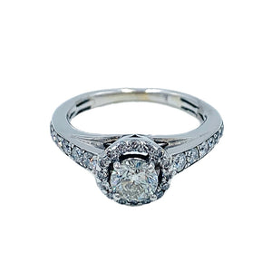 0.75 CTW 14k white gold diamond engagement ring with a 0.44 ct round brilliant center diamond