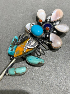 Herbert Ration Navajo Sterling Silver Spiny Oyster Turquoise Flower Pin/pendant Handmade Native American