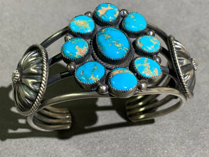 Hemerson Brown Navajo Turquoise Cluster Sterling Silver Cuff