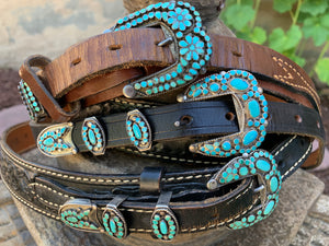 Dishta Zuni Turquoise Sterling Silver Ranger Belts  set of 3 Belts